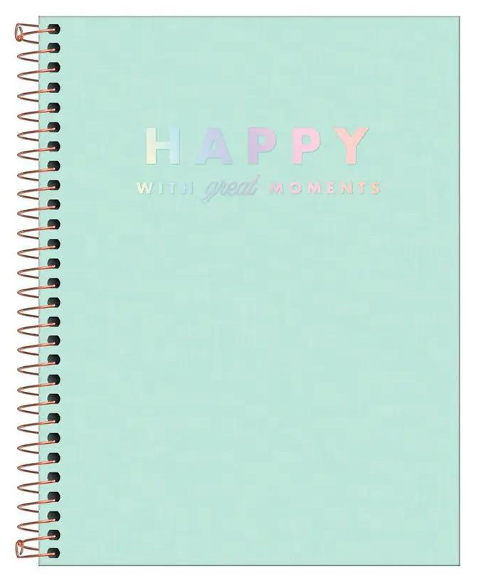 Caderno Espiral Capa Dura Colegial 10 Matérias Happy Verde - Tilibra