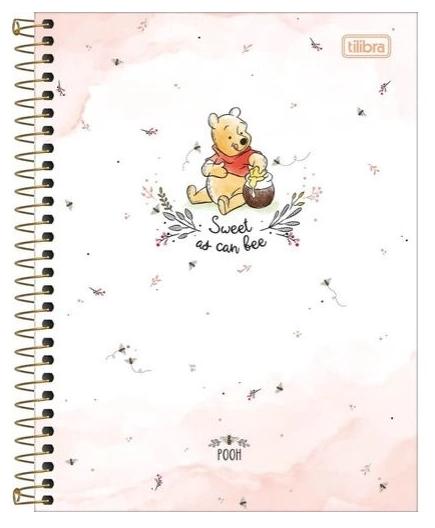 Caderno Espiral Capa Dura Colegial 10 Matérias Pooh - Tilibra