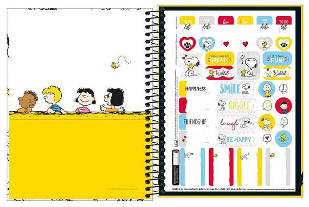 Caderno Espiral Capa Dura Colegial 10 Matérias Snoopy - Tilibra