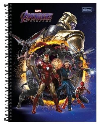 Caderno Espiral Capa Dura Universitário 10 Matérias Marvel Avengers Endgame - Tilibra