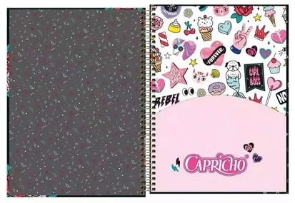Caderno Espiral Capa Dura Universitário 10 Matérias Capricho - Tilibra