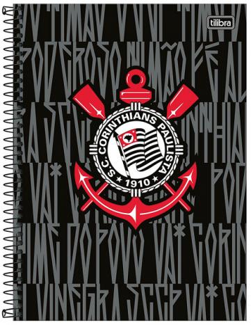 Caderno Espiral Capa Dura Universitário 10 Matérias Corinthians - Tilibra