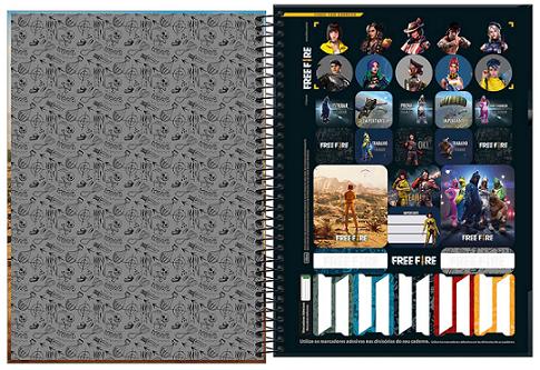 Caderno Espiral Capa Dura Universitário 10 Matérias Free Fire - Tilibra