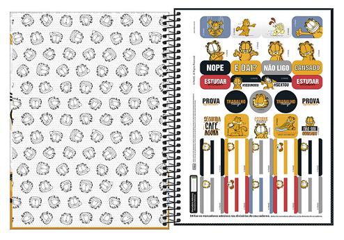 Caderno Espiral Capa Dura Universitário 10 Matérias Garfield - Tilibra