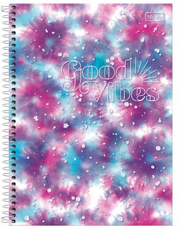 Caderno Espiral Capa Dura Universitário 10 Matérias Good Vibes - Tilibra