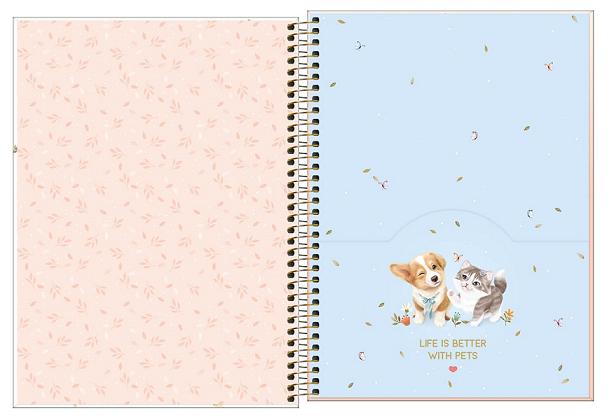 Caderno Espiral Capa Dura Universitário 10 Matérias Jolie Pet - Tilibra
