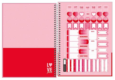 Caderno Espiral Capa Dura Universitário 10 Matérias Love Pink - Tilibra