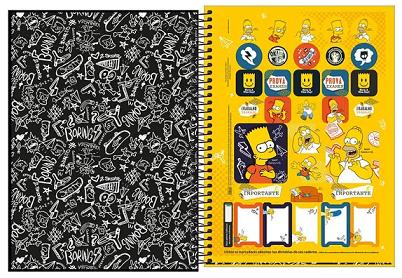 Caderno Espiral Capa Dura Universitário 10 Matérias Simpsons - Tilibra