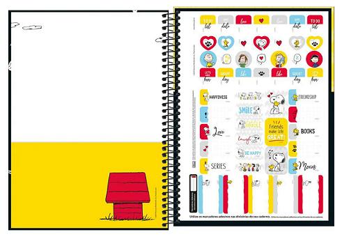Caderno Espiral Capa Dura Universitário 10 Matérias Snoopy - Tilibra