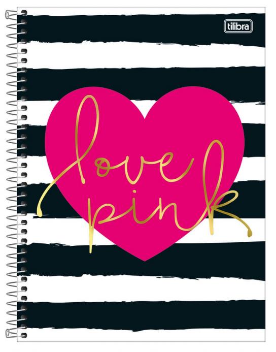 Caderno Espiral Capa Dura Universitário 12 Matérias Love Pink - Tilibra