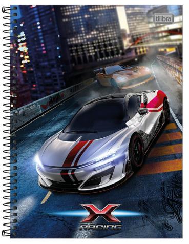 Caderno Espiral Capa Dura Universitário 12 Matérias X Racing - Tilibra