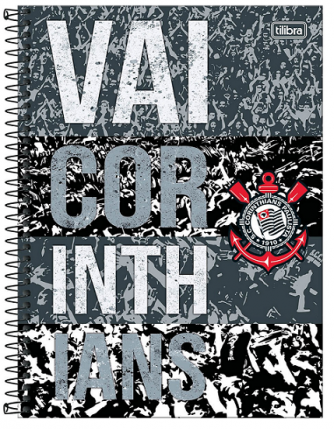 Caderno Espiral Capa Dura Universitário 16 Matérias Corinthians - Tilibra