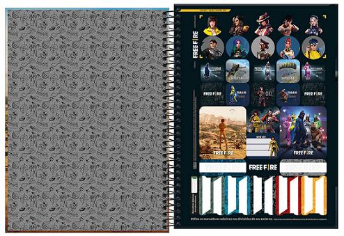 Caderno Espiral Capa Dura Universitário 16 Matérias Free Fire - Tilibra
