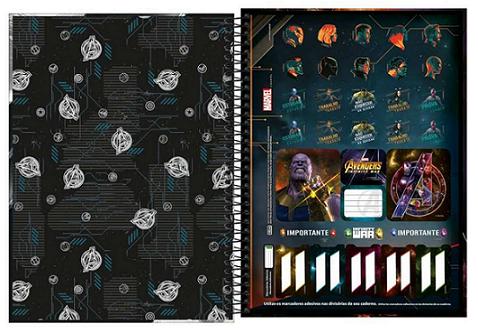 Caderno Espiral Capa Dura Universitário 16 Matérias Marvel Avengers Infinity War - Tilibra