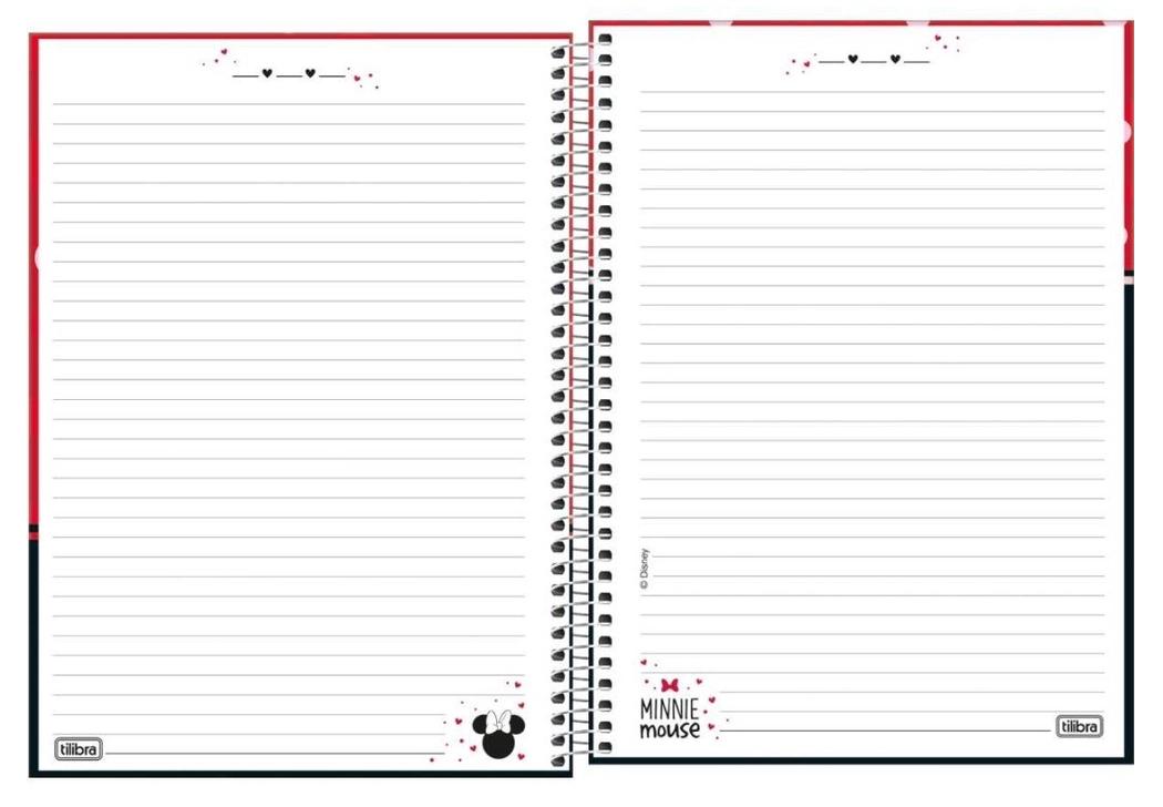 Caderno Espiral Capa Dura Universitário 16 Matérias Minnie - Tilibra