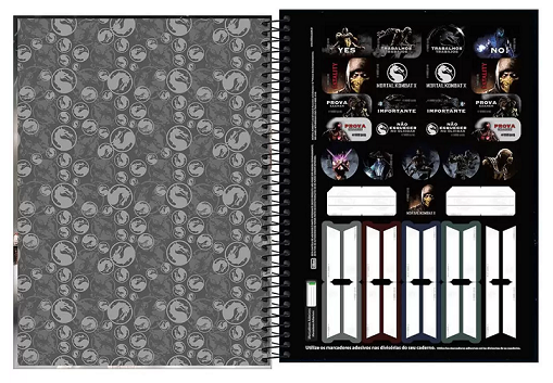 Caderno Espiral Capa Dura Universitário 16 Matérias Mortal Kombat - Tilibra