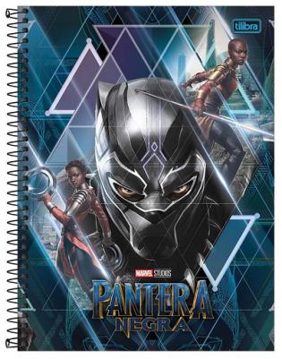 Caderno Espiral Capa Dura Universitário 16 Matérias Pantera Negra- Tilibra