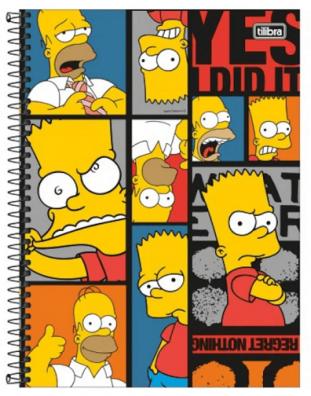 Caderno Espiral Capa Dura Universitário 16 Matérias Simpsons- Tilibra
