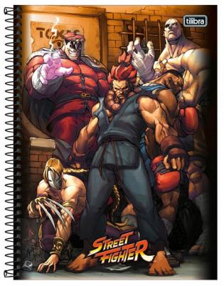 Caderno Espiral Capa Dura Universitário 16 Matérias Street Fighter - Tilibra