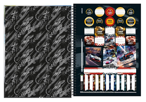 Caderno Espiral Capa Dura Universitário 16 Matérias X Racing - Tilibra