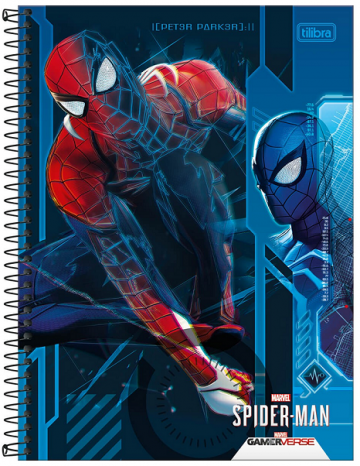 Caderno Espiral Capa Dura Universitário 1 Matéria Spider-Man Gamer - Tilibra