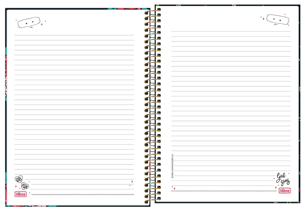 Caderno Espiral Capa Dura Universitário 20 Matérias Capricho - Tilibra