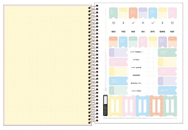Caderno Espiral Capa Dura Universitário 20 Matérias Happy - Tilibra