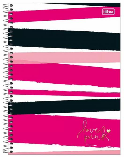 Caderno Espiral Capa Dura Universitário 20 Matérias Love Pink - Tilibra