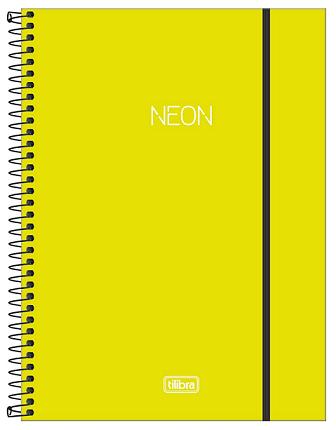 Caderno Espiral Capa Plástica Universitário 10 Matérias Neon Verde Limão - Tilibra