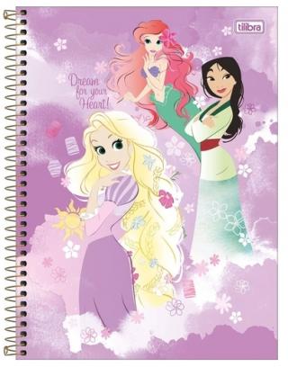 Caderno Espiral Capa Dura Universitário 1 Matéria Princesas Light - Tilibra