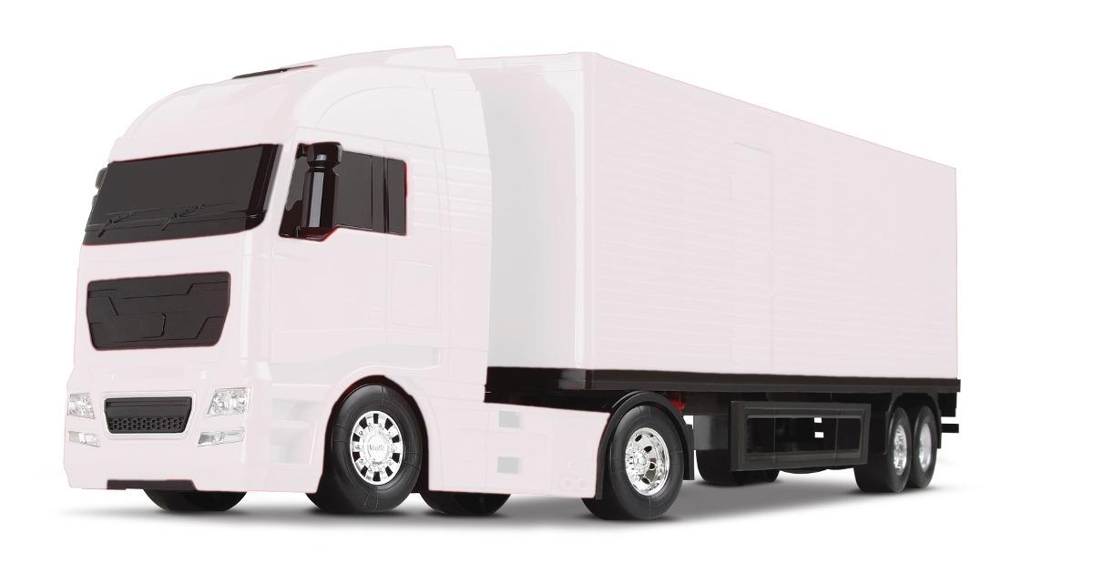 Caminhão Baú Diamond Truck - Branco/ Preto/ Vermelho - Roma Brinquedos
