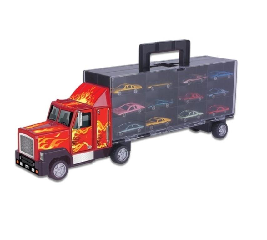 Caminhão Carreta Cegonha com 12 Carrinhos - Braskit
