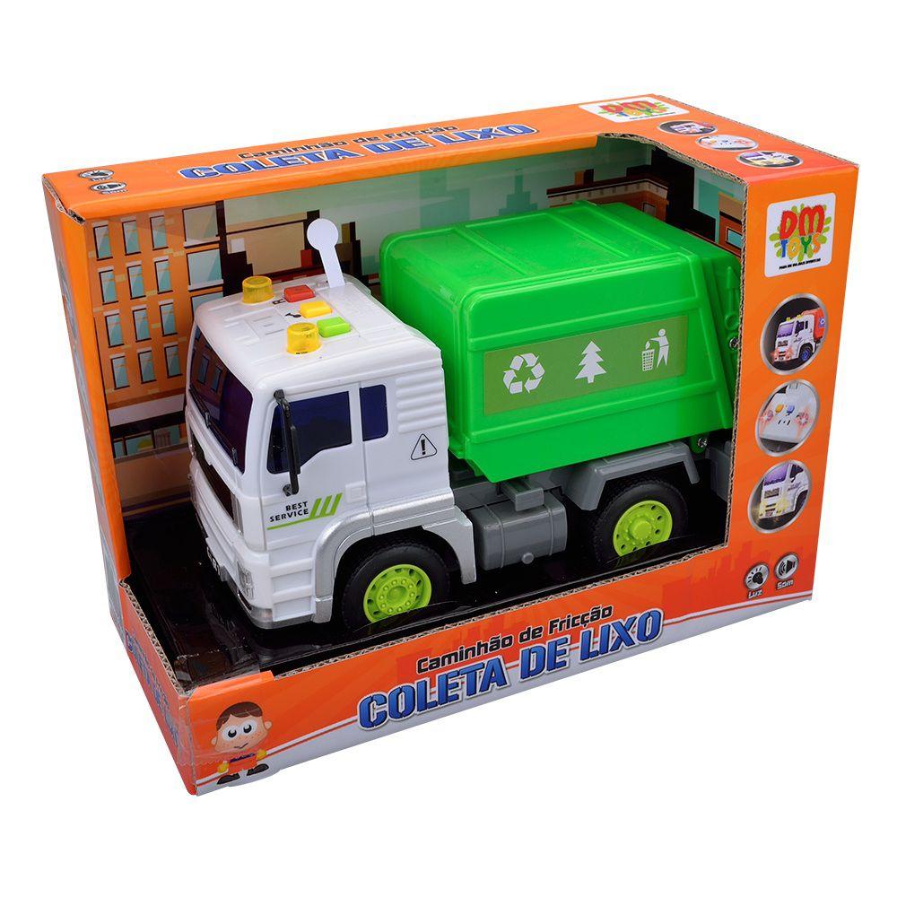 Caminhão de Fricção Coleta de Lixo com Luz e Som - Dm Toys