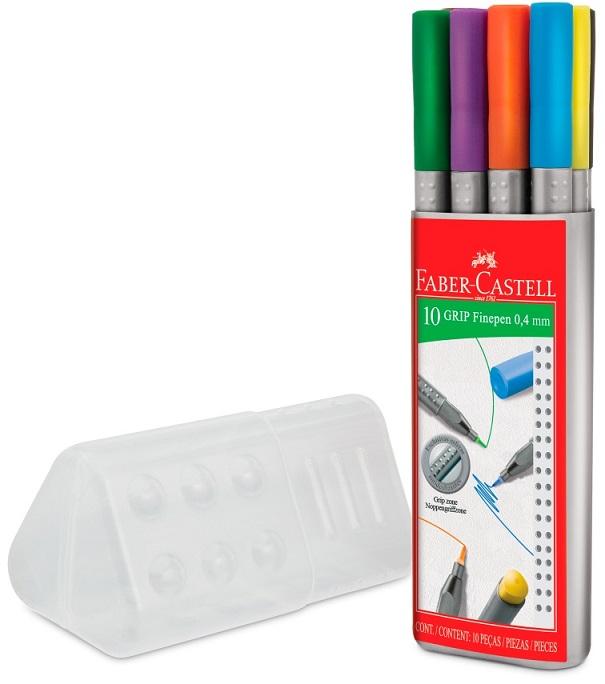Caneta Ponta Porosa Faber Castell Grip Fine Pen 0.4mm 10 Cores Estojo c/ 10 Unidades