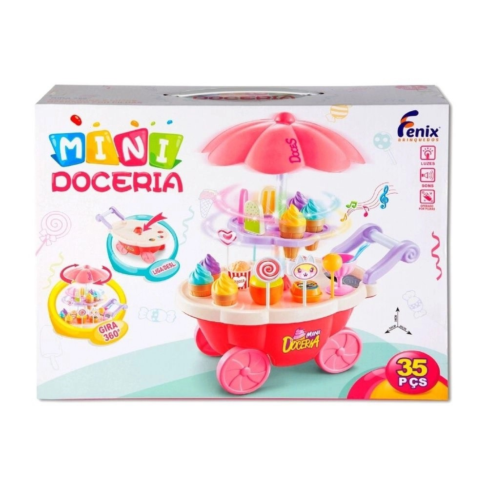 Carrinho Mini Doceria com Luz e Som - Fenix Brinquedos