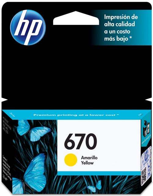 Cartucho HP Original 670 Amarelo - HP