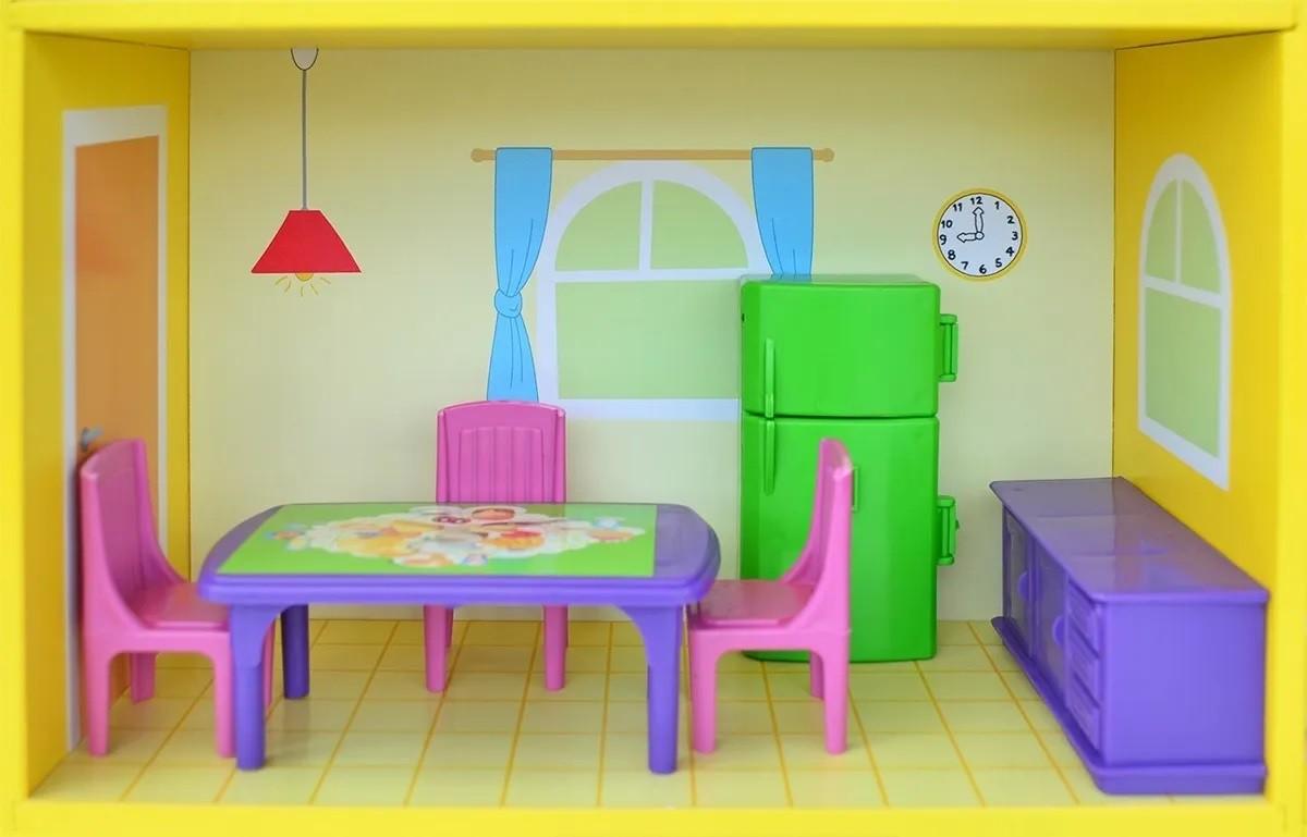 Casa de Boneca Yellow House em Madeira - Junges
