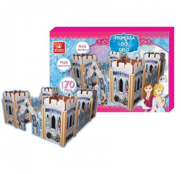 Castelo Princesa do Gelo em Madeira 70 Peças - Brincadeira de Criança