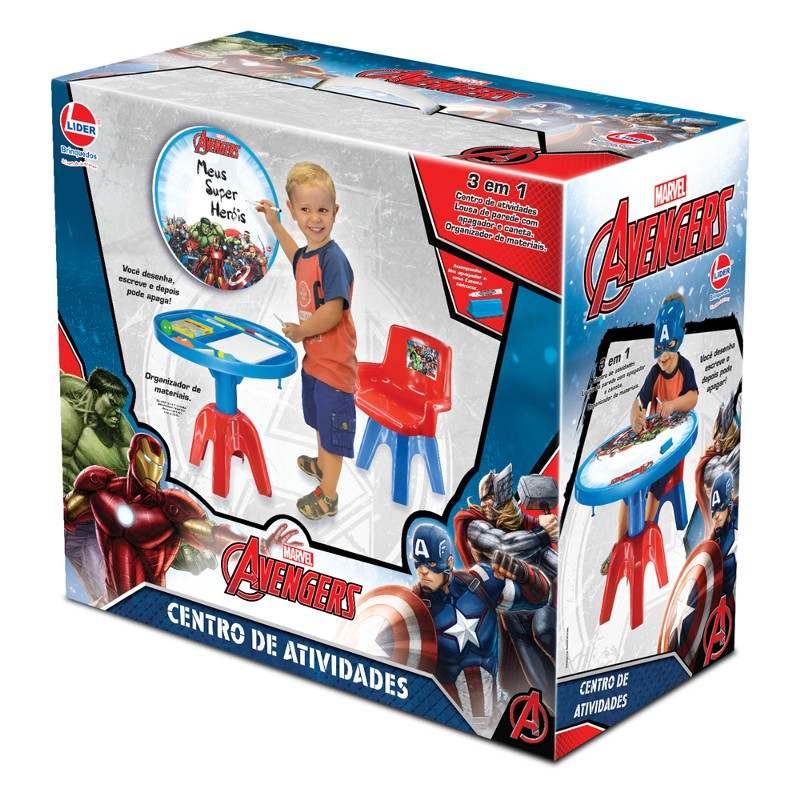 Mesa Centro de Atividades Marvel Avengers 3 em 1 - Lider Brinquedos