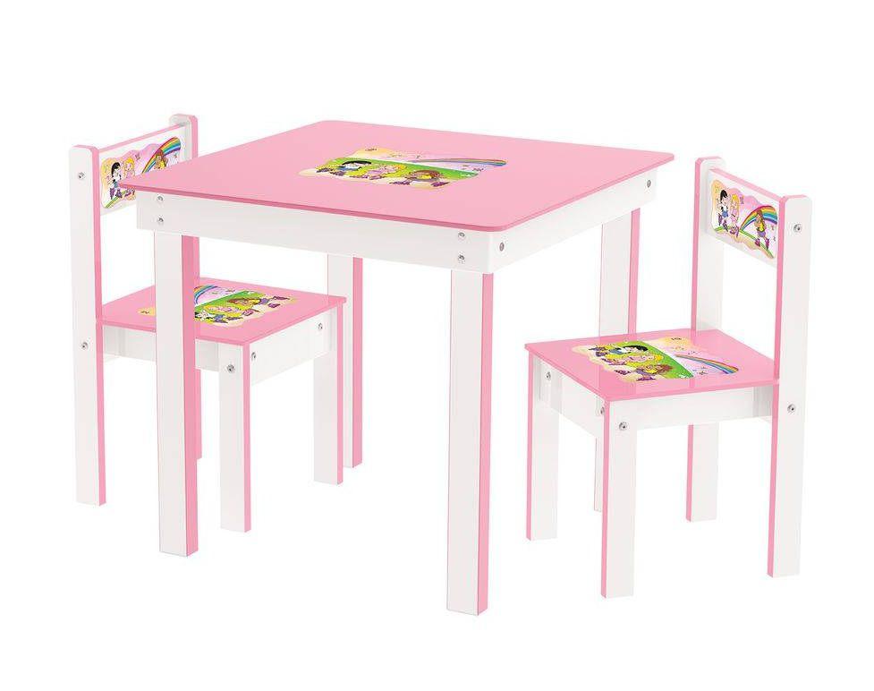 Conjunto de Mesa com 2 Cadeiras Rosa em Madeira - Junges