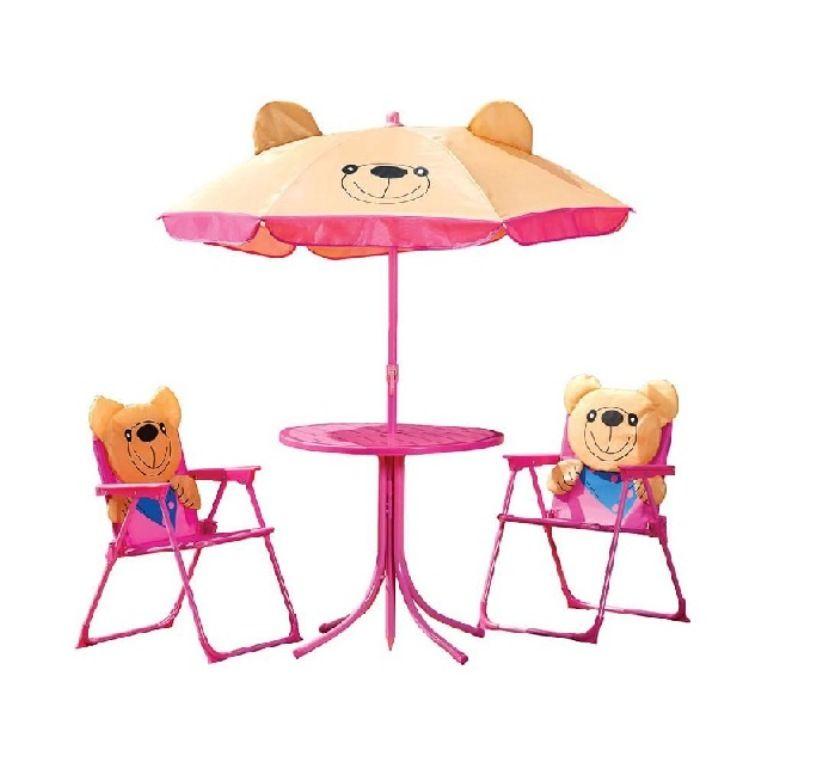 Conjunto Infantil Ursinhos Mesa com Cadeiras e Guarda Sol - MOR