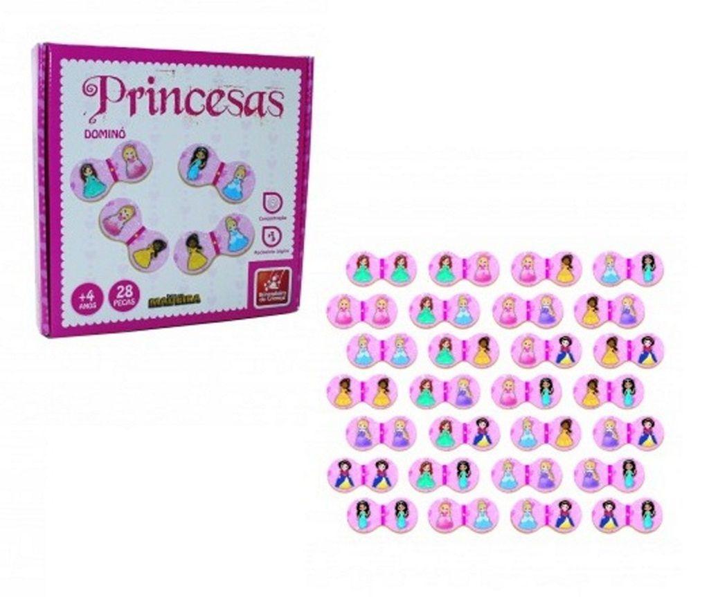Dominó Princesas 28 Peças em Madeira - Brincadeira de Criança