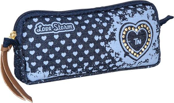 Estojo Escolar Médio Love Storm Jeans - TN Bolsas