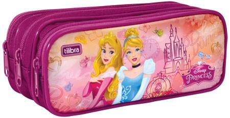 Estojo Escolar Triplo Grande Princesas Disney Rosa - Tilibra