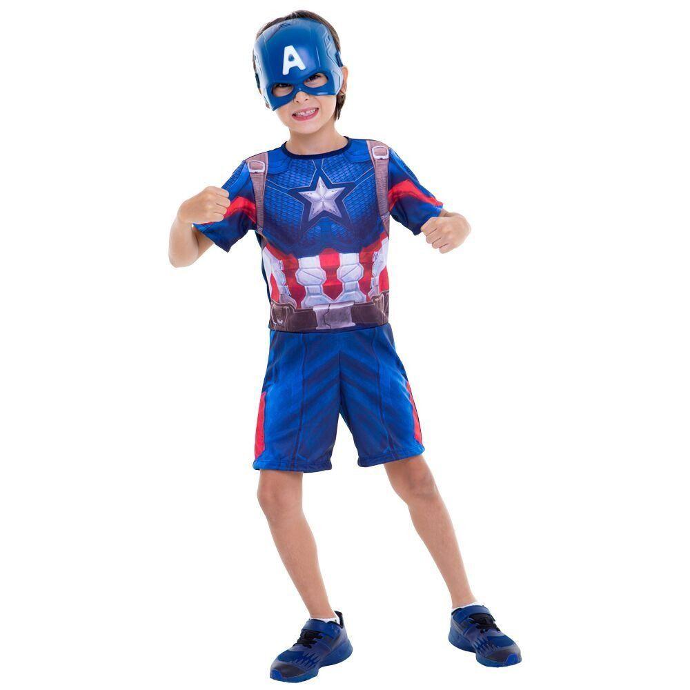 Fantasia Curta Infantil Marvel Vingadores Ultimato Capitão América G - Regina
