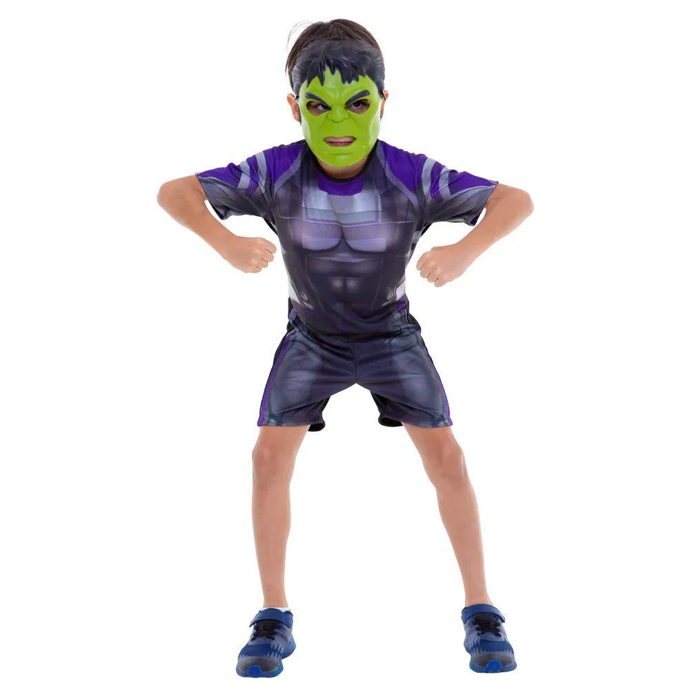 Fantasia Curta Infantil Marvel Vingadores Ultimato Hulk com Máscara M - Regina