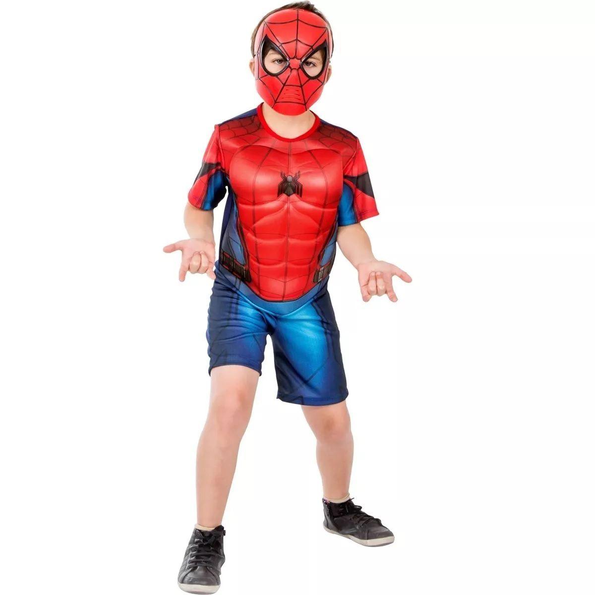 Fantasia Curta Infantil Marvel Homem Aranha De Volta ao Lar com Peitoral e Máscara M - Global Fantasias