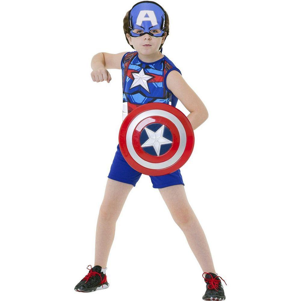 Fantasia Pop Infantil Marvel Vingadores Capitão América Clássico com Escudo e Máscara G - Regina