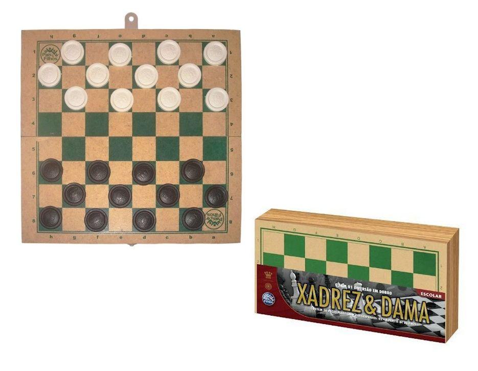 Jogo 2 em 1 Xadrez e Dama Escolar - Pais e Filhos