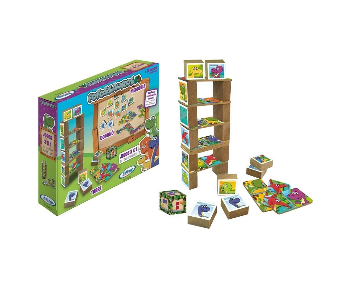 Jogo 3 em 1 Dominó, Memória e Torre de Madeira Fofossauros - Xalingo
